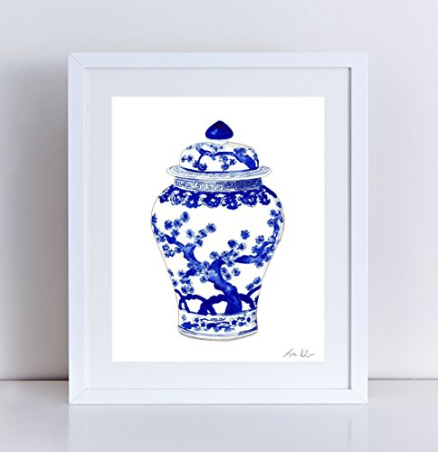 Blue and White China Art Ginger Jar Print 10 Asian Wall Decor Chinese Wall Art Chinoiserie Art Hollywood Regency Decor Preppy Art Pretty Art Watercolor Painting Canvas Art Print Unframed ()