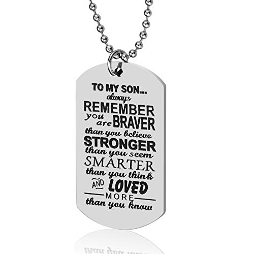 Lcbulu Dad to Son Necklace, to My Son Dog Tag Pendant Necklace, Father to Son Gifts for Boys Kids, Son Gift from Dad, Inspirational Son Necklace (to My Son)