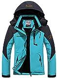 GEMYSE Women's Mountain Waterproof Ski Jacket Windproof Rain Jacket (Acid Blue, S)