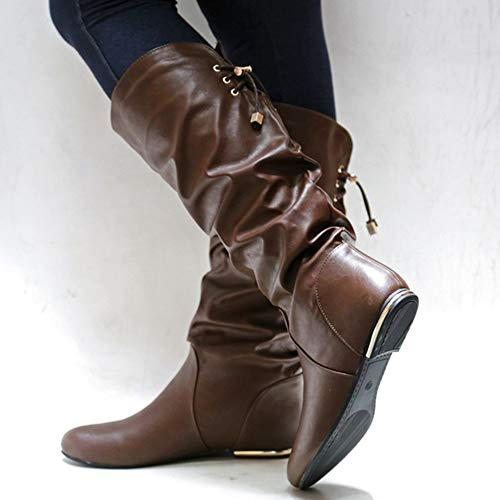 Knee Shoes Boots Boot LAICIGO Leather coffee Fall High Z Casual Womens Calf Wide Slouchy Flat Winter nUxXqOxwfS
