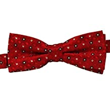 Boys Pretied Bow Tie Cherry Apple Red with White Squares