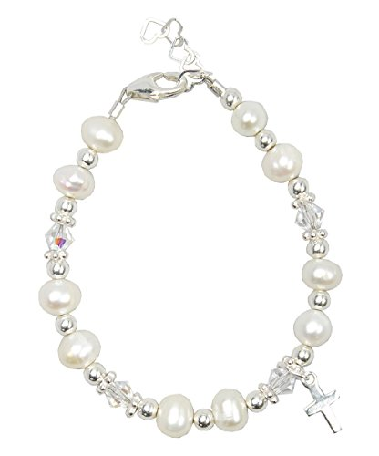 (Crystal Dream Christening Clear Swarovski Crystal with Cultured Fresh Water Pearls and Sterling Silver Cross Charm Luxury Infant Unisex Bracelet)