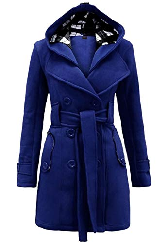 OMZIN Women Business Winter Warm Fleece Check Plaid Hooded Coat Royal Blue XL ()