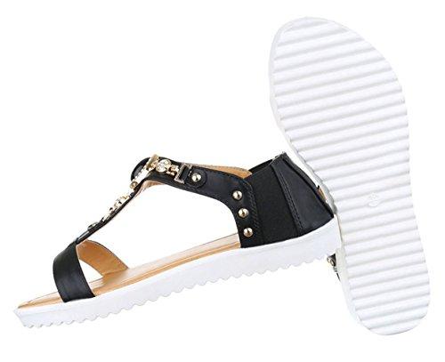 Damen Sandalen Schuhe Sommerschuhe Strandschuhe Mit Strass Besetzte Schwarz 36 37 38 39 40 41 Schwarz