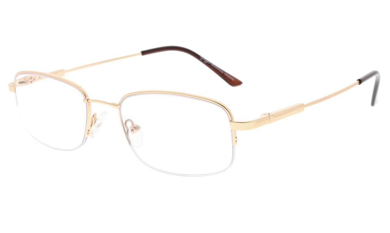 b705f00acd7b07 Eyekepper Lunettes de vue demi-cerclee Progressive 3 niveau vision Anti UV  lunettes loupe lunettes de lecture souple homme femme (Gold, 2.00)   Amazon.fr  ...