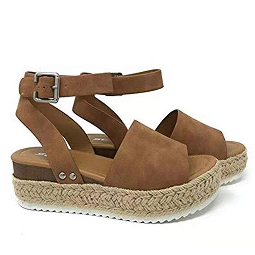 yUhe2018Cw Women's Flatform Espadrilles Ankle Strap Buckle Open Toe Faux Leather Studded Wedge Summer Sandals Brown 43