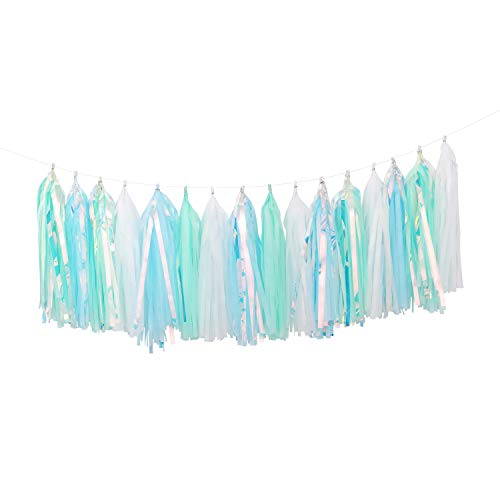 Fonder Mols Tissue Paper Tassel Garland Tassels Banner (Pack of 25 pcs, White Mint Aqua Iridescent) for Frozen/Winter Snowflake Themed Birthday Party Decorations A01