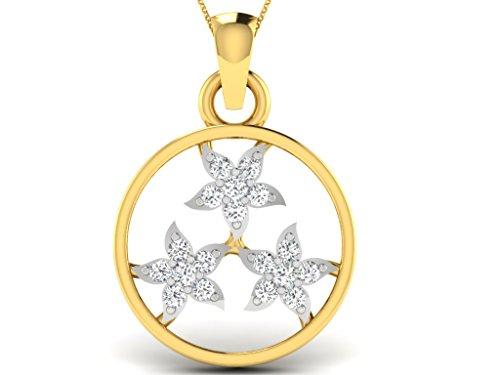 Or Jaune 18 ct Pendentifs Diamant en forme de rond, 0.07 Ct Diamant, GH-SI, 0.59 grammes.