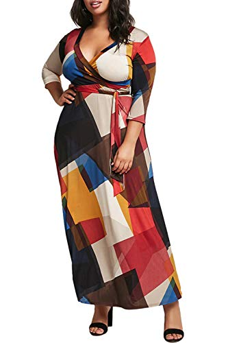 Meenew Women's Wrap V Neck Colorblock 3/4 Sleeve Belted Plus Size Maxi Dress 2XL