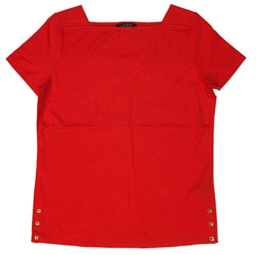 Ralph Lauren Lauren Plus Size Stretch Cotton Boatneck Tee (2X, Red)
