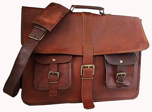 hlc 18 Inches Leather Messenger Laptop Computer Briefcase Unisex Cross Body Bag