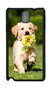Puppy with flower PC Case and Cover for Samsung Galaxy Note 3 Note III N9000 Black