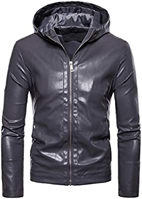 willwinMen WillingStart Mens Solid Easy Comfort Jacket Hooded Thickening Leather Trench Coat