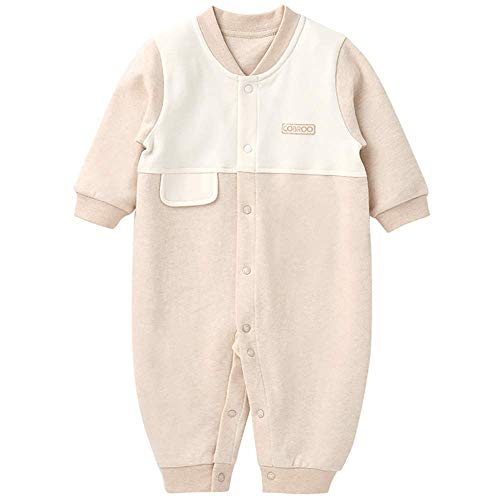 (COBROO Infant Baby Union Suit Striped Sleepwear Baby Girls' Organic One-Piece Romper Coverall)