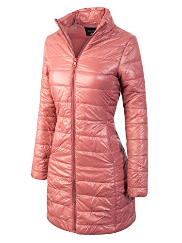 Instar Mode Women's Casual Warm Quilted Long Puffer Down Jacket Coat Mauve S ()