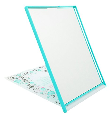 Happiness Rose Compact Folding Stand Mirror | Incredibly Cute & Portable | Perfect Make-Up Mirror, especially for Teen Girls | Comes in Two Colors (Turquoise) by Daiso Japan