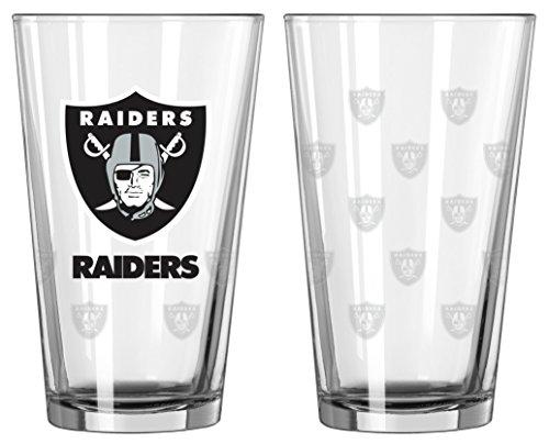 Satin Etch Pint Glass - Oakland Raiders Satin Etch Pint Glass Set