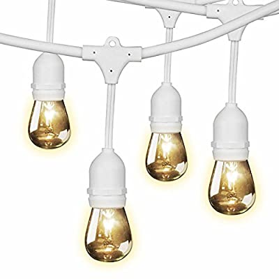 Feit Outdoor Weatherproof String Light Set, White, 48 ft, 24 Light Sockets, Includes 36 Bulbs