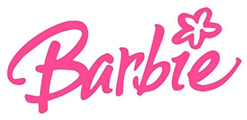 Barbie with Flower Sticker Decal (6''x4'', Magenta)]()