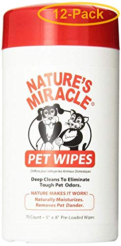 Nature's Miracle Spectrum Brands Pet 5147 Pet Wipes, 5 x 8-in, 70-Ct. - Quantity 12