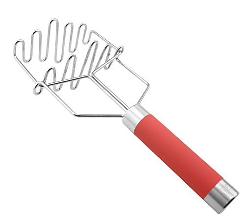 Potato Masher   Double Smashers For Your Potatoes Guacamole Cauliflower Fruit Eggs Meat   Best Mashers for Smooth Mash With Or Without Skin   Spring Loaded Smasher With Silicone Handle PC by Chef Amore