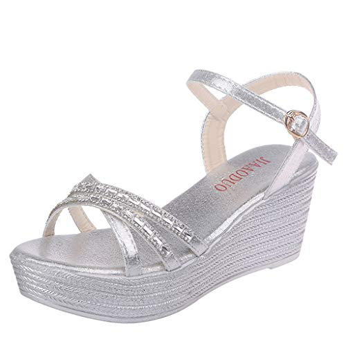 Ladies Sandals Fzitimx Summer Women's Rhinestone Crossover Wedges Open Toe Sneakers Sandals Platform Thick Bottom Wedge Sandals