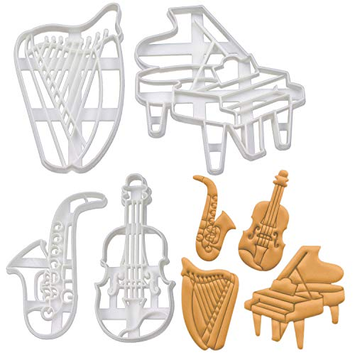 Set of 4 Music Instrument cookie cutters (Designs: Harp, Grand Piano, Saxophone, Violin), 4 pieces - Bakerlogy ()
