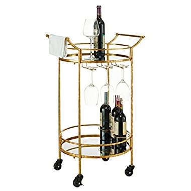 Linon Round Gold Metal Bar Cart