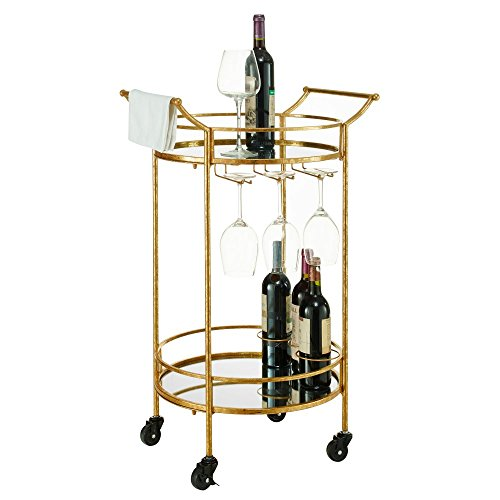 gold bar cart with wine rack - 5