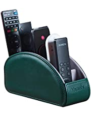 TV Remote Control Holder with 5 Compartments,Pu Leather Remote Caddy/Box/Tray Bedside Table Desk Storage Organizer for DVD, Blu-Ray, Media Player, Heater Controllers and Cosmetics Office Supplies