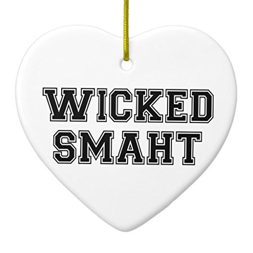 Christmas Decorations Tree Ornament Wicked Smart smaht College Boston Ornament Heart Ornament Funny Xmas Gifts Holiday Home Decor