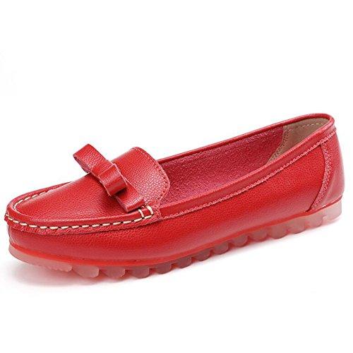 de tamaño Las Color de Perezosos Zapatos Zapatos de 36 Verano señoras Zapatos Ocasionales Guisantes Forro Mujeres Cuero Arco del Zapatos 2018 Rojo Ocasionales cómodos Rw88xqB