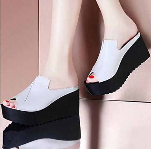 Wedges, sandals, slippers, summer wear, non-slip sandals, slippers, high-heeled sandals Flat Sandals,Fashion sandals (Color : B, Size : 34) A