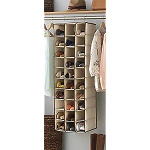 Whitmor Hanging Shoe Shelves - 30 Section - Closet Organizer - Canvas