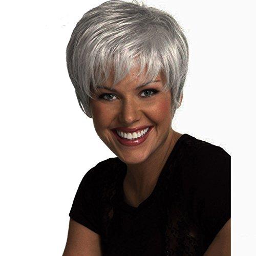 DEYSSNE Women's Short Fluffy Sliver Grey Heat Resistant Synthetic Wig for Mom Grandma ]()