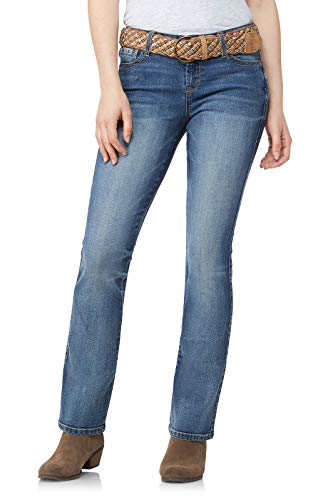 WallFlower Womens Juniors Belted Low-Rise Legendary Slim Bootcut Jeans in Galaxy, 7