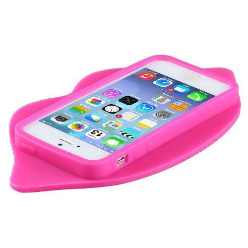 SODIAL(R) 3D Lippenentwurf Silikon Schutzhuelle fuer das iPhone 5S/ 5 (Rose Rot)