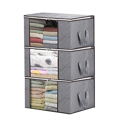 3 Pieces Bamboo Charcoal Clothing Organizer Bags, Foldable Storage Zipper Bag Large Durable Closet Storage Boxes Case Container for Dresses Quilt Season Items Storage (Grey) (Quilt Day)