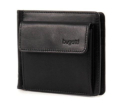 Bugatti monedero Primo con clip, 11 cm, negro Black (Schwarz)