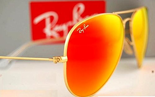 ray ban aviator sunglasses fire orange gold mirror  amazon: ray ban aviator luxottica orange mirror gold frame rb3025//112 69 made in italy: shoes