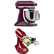 KitchenAid Artisan 5-Quart Stand Mixer with Spiralizer Attachment with Peel Bundle