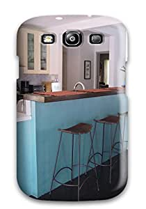 New Design Shatterproof Case For Galaxy S3 (modern Kitchen With Sky Blue Bar Recessed Lights Amp Metal Bar Stools)