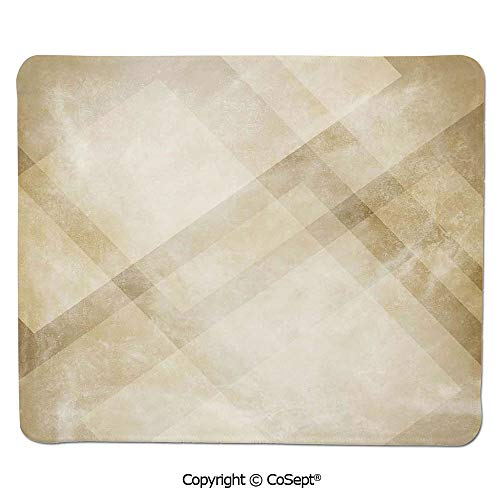 - Premium-Textured Mouse pad,Striped Vintage Faded Squares and Angled Lines Dated Antique Display with Modern Pattern,for Laptop,Computer & PC (15.74