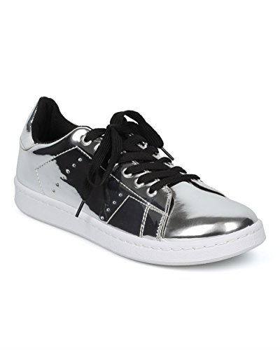 Alrisco Women Mirrored Low Top Sneaker - Lace Up Fashion Sneaker - Casual Everyday School Trendy Sneaker - HC95 by Qupid Collection Silver Metallic fzhQl6D