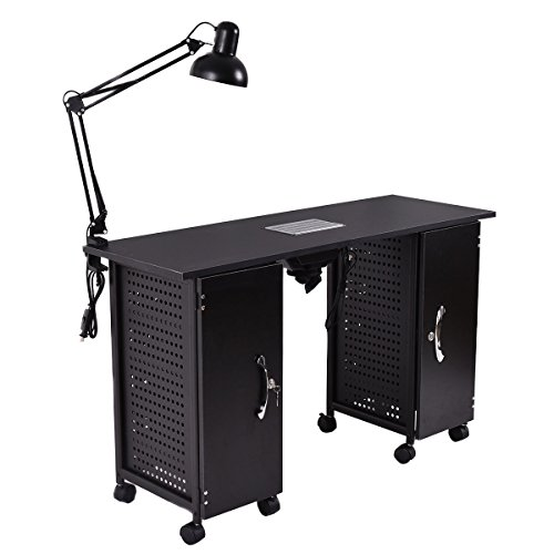 Giantex Manicure Nail Table Station Black Steel Frame Beauty Spa Salon Equipment Drawer by Giantex