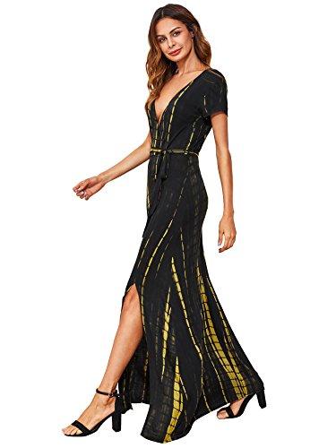 Verdusa Women's Boho Tie Dye Stripe Slit Surplice Wrap Casual Long Maxi Dress Black (Jersey Surplice Dress)