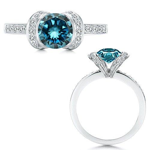 1 Carat Blue Diamond Ribbon Solitare Halo Engagement Wedding Anniversary Bridal Women Ring 14K White Gold