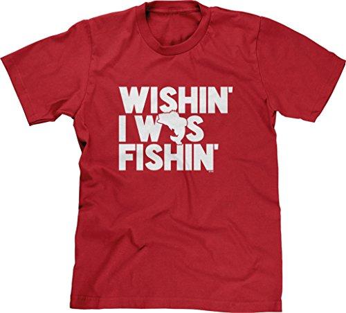Blittzen Mens T-shirt Wishin I Was Fishin, S, Red