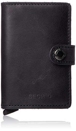Black Mini Wallet - Secrid Mini Wallet Leather Vintage Black, Rfid Safe Card Case