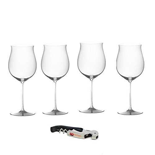 Riedel Sommeliers Leaded Crystal Burgundy Grand Cru 4 Piece Wine Glass Set with Bonus BigKitchen Waiter's Corkscrew ()